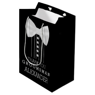 Thank You Groomsman White Bow Tie Tuxedo Shirt Medium Gift Bag