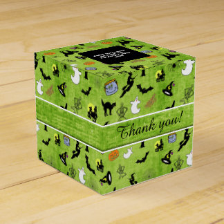 Thank You: Halloween Collage Pattern Green Texture Favour Box