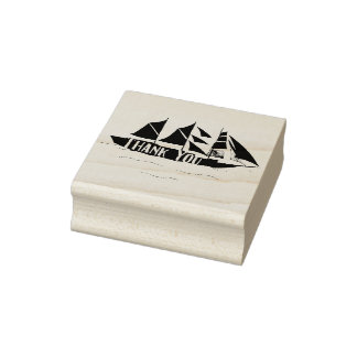 Thank You Hand Drawn Large Ship Rubber Stamp