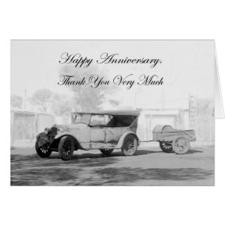Thank you, happy Anniversary, vintage car. Card