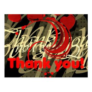Thank You Heart Font Modern Art Postcard