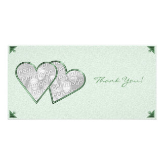 Thank You Hearts Green Damask Photo Card Template