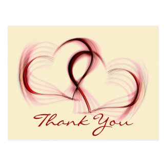 Thank You Hearts Pink & Red Greeting Postcard