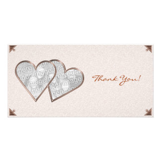 Thank You Hearts Sepia Damask Photo Card Template