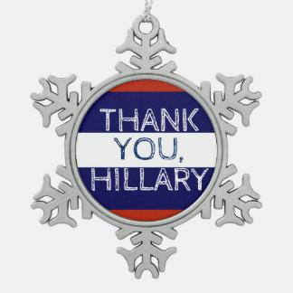 Thank You Hillary Snowflake Christmas Snowflake Pewter Christmas Ornament