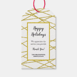 Thank you holiday gift tag geometric gold