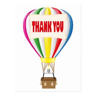 Thank You Hot Air Balloon Rainbow Postcard