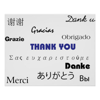 Thank You in black and blue003 Print