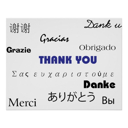Thank You (in black and blue003) Print