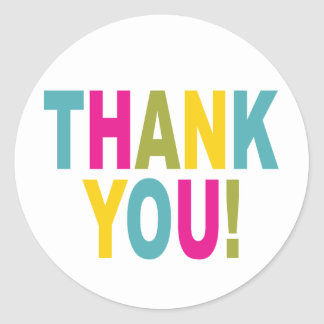 Thank You in bright colors Round Sticker