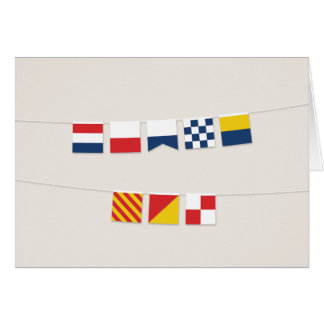 THANK YOU in Colorful Nautical Flags Note Card