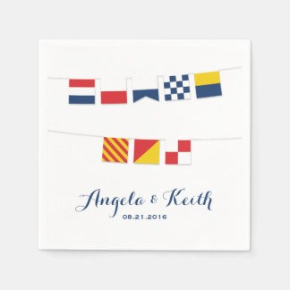 THANK YOU in Colourful Nautical Flags Paper Napkin