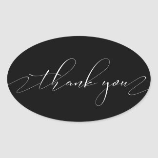 Thank You In Delicate White Script Oval Sticker