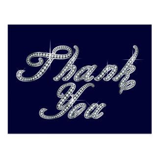 Thank You in Faux-Diamond Bling Script Postcard