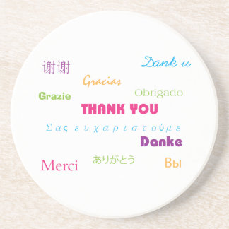 Thank You in Many Languages Coaster