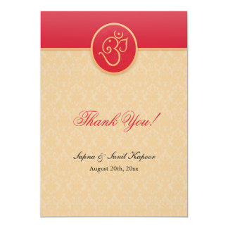Thank You Indian Style Flat Card 13 Cm X 18 Cm Invitation Card