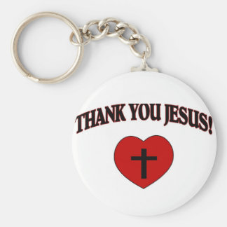 Thank You Jesus (Heart) Basic Round Button Key Ring