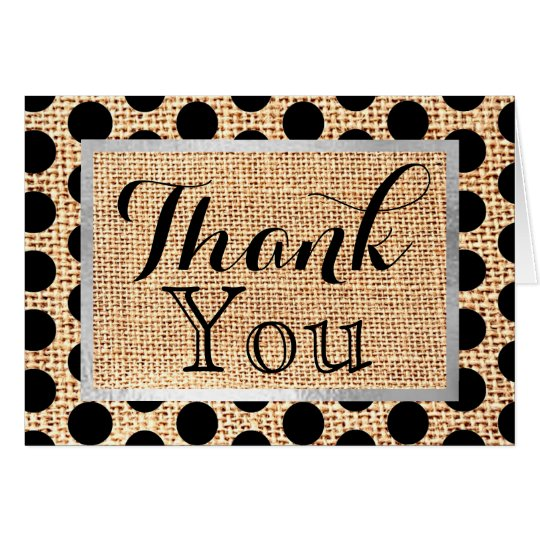 Thank You Jute Burlap Polka Dot Black Note Card