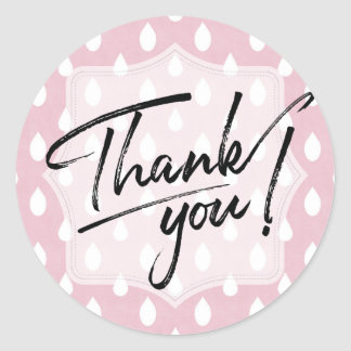 Thank You Label | Pink Blush Raindrop Pattern Round Sticker