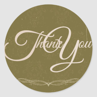 Thank You Label Seal - Wedding Olive Green Round Sticker