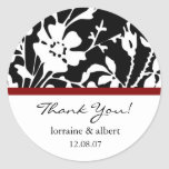 Thank You Labels, Black Floral Top Round Sticker
