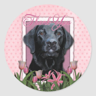 Thank You - Labrador - Black - Gage Classic Round Sticker