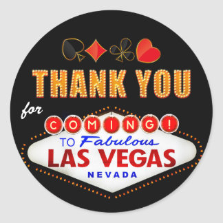 Thank You - Las Vegas Sign Fabulous Casino Night Classic Round Sticker