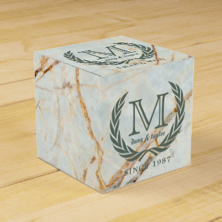 Thank You Laurel Leaf Monogram Beautiful Marble Favour Box