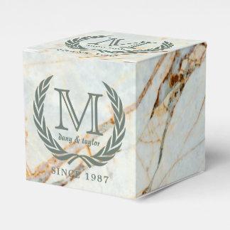 Thank You Laurel Leaf Monogram Beautiful Marble Wedding Favour Boxes