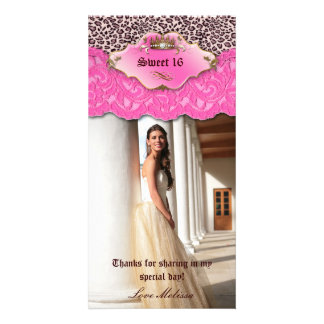 Thank You Leopard Lace Jewel Sweet 16 Pink Card
