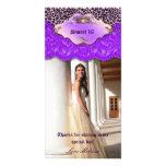 Thank You Leopard Lace Jewel Sweet 16 Purple Photo Card