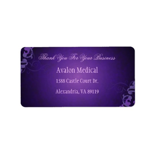 Thank You Liliac Scroll Purple Address Labels