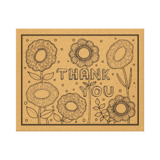 Thank You Line Art Design By Suzy Joyner Canvas Print