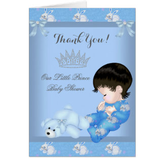 Thank You Little Prince Baby Shower Boy Blue Bunny Greeting Card