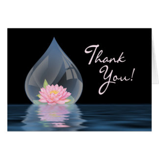 THANK YOU - LOTUS FLOWER IN WATERDROP CARD
