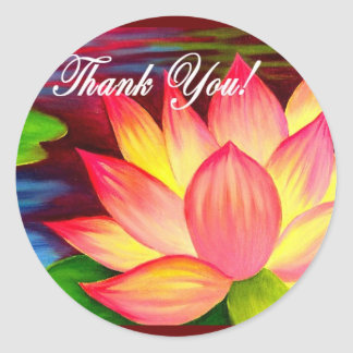 Thank You Lotus Water Lily Flower Painting - Multi Stickers