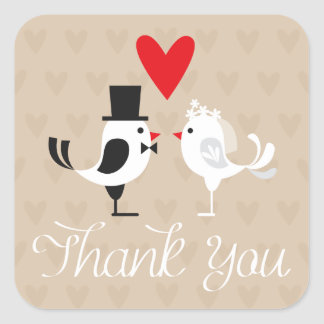 Thank You Lovebirds & Hearts Wedding Stickers