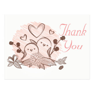 Thank You Lovebirds Pink & Brown Wedding Love Postcard