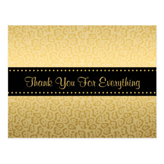 Thank You Luxury Black and Gold Jaguar Print Postcard