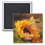 Thank You Magnet, Rustic Country Fall Sunflower