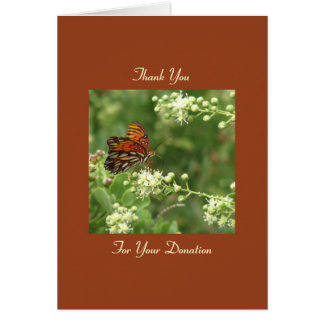 Thank You Memorial Donation, Orange Butterfly Note Card