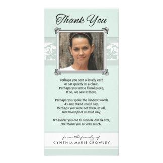 Thank You Memorial Light Green & White Photo Card