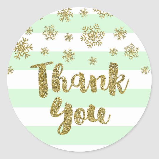 Thank You Mint Stripes Gold Snow Winter Classic Round Sticker