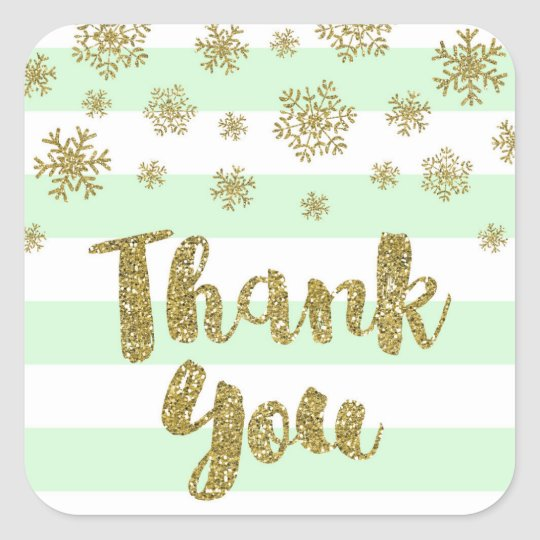 Thank You Mint Stripes Gold Snow Winter Square Sticker