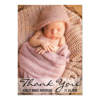 Thank You Modern Baby Birth Photo Card