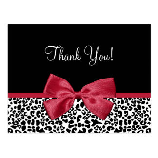Thank You Modern Leopard Samba Red Ribbon Postcard