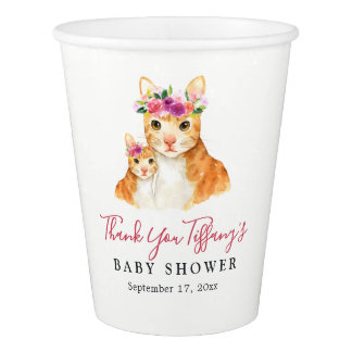 Thank You Mom And Baby Cat Floral Baby Shower Cup