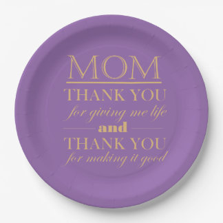 Thank You Mom, Mother's Day Plate 9 Inch Paper Plate
