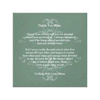 Thank You Mom - Poem, Canvas Print