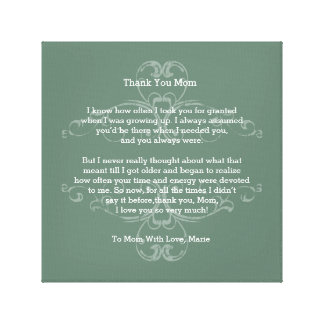Thank You Mom Poem Stretched Canvas Print